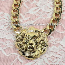 Wholesale Statement Necklace Lion - Free Shipping Metal Rihanna's Style LION HEAD Statement NECKLACE Chunky Trendy Animal Necklace #OF110 order<$15 no tracking