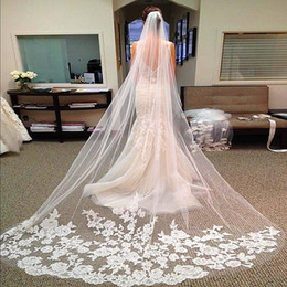 Wholesale Wedding Sheer Satin Ribbon - 2.8 Meters Long Bridal Veils Elegant Wedding Veil With Lace Edged White Ivory One Layer Sheer Lace Applique Bridal Veil Wedding Accessories