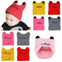 Wholesale Cute Toddler Girls Winter Hats - baby hat autumn cute cat boy&girl cap cartoon Cat Ear Toddler Hats Winter Milk Baby Caps Warm Knitted Newborn Hats Infant Beanies Skullies