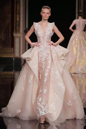 Wholesale New Zuhair Murad Evening Dresses - Zuhair Murad Overskirt New Formal Dresses Evening Sheer Plunging Neck Party Gowns Applique Sweep Train Lace Long Prom Dress