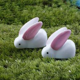 Wholesale Tuzki Rabbit - Mini Cute Resin Bunny Big Ears White Rabbit Tuzki Easter Bonsai Handicraft Decor Aaccessories Micro Landscape Ornaments DIY Fairy Garden