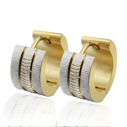 Wholesale Indian Birthday Gifts - n041 Sparkling Stainless Steel Mens Hoop Earrings Silver Gold For Christmas .Birthday .Party Jewlery Gifts