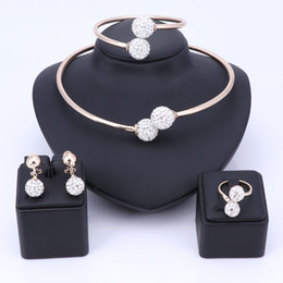 Wholesale 18k pure gold necklace - Wholesale African Beads Jewelry Set Fashion Wedding of Women Dubai Jewelry sets Pure Gold-color Necklace Earrings Bangle Ring