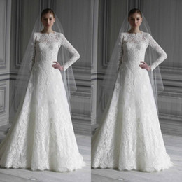 Wholesale Keyhole Top Long Sleeve - Vintage Lace Long Sleeves Wedding Dresses Bridal Gowns Top Elegant High Neck A-line Floor Length Lace Wedding Gowns with Keyhole Back