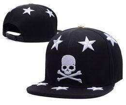 Wholesale white leather hat - wholesale Hot Sale New The skeleton Snapback hats black skull with black stars cap Adjustable Unisex Hip Hop Caps Top Quality street hats