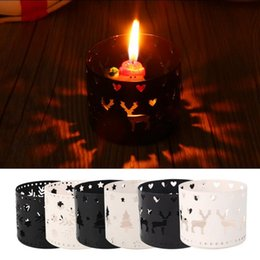 Wholesale Iron Out Wholesale - Christmas Candle Holder Iron Xmas Tree Hollow Out Deer Snowflake Candlestick Table Hollow Romantic Candle Holders OOA3737