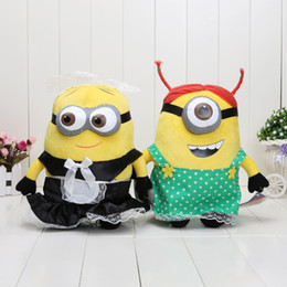 Wholesale Despicable Beans - 2pcs Lot 10inch 25cm Despicable me 2 cute 3D soya beans With the maid free shipping