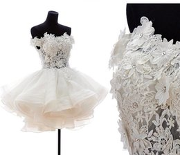 Wholesale Mini Lace Tiered Short Skirts - Off Shoulder Ball Gown Wedding Dresses For Short Bride Gowns Sexy Puffy Tulle Party Organza Bridal Gowns Back Zipper and Button Customized