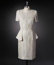 Wholesale France T Shirt - Elegant Mothers Of Bride Dress France Lace Bodice Short Sleeves Peplum Sheath Mothers Dress Groom Gowns Knee Length