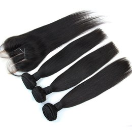 Wholesale Lace Front Part Closure - Brazilian Hair Bundles With Lace Closure 3 Way Part 4pcs Per Lot Cheap Unprocessed Virgin Straight Human Hair Weaves With Lace Front Closure