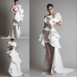Wholesale Krikor Jabotian Short Wedding Gown - 2018 Hot Design wedding Dresses One Shoulder Appliques Ruffles Sheath Hi-Lo Organza New Customed White Ivory Krikor Jabotian Bridal Gowns