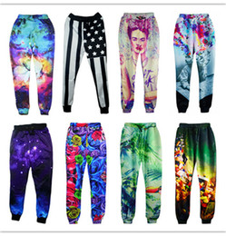 Wholesale Galaxy Trousers - Wholesale-Joggers pants 3D graphic galaxy space sport running pants Einstein frida kahlo daft punk sweatpants men women hip hop trousers
