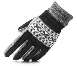 Wholesale Wholesale Leather Gloves For Men - Winter knit gloves for men genuine leather warm gloves 12pairs lot free shipping