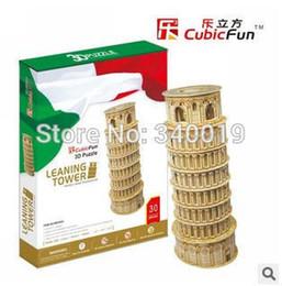 Wholesale Middle Paper - Wholesale-CubicFun 3D Puzzle toy World Famous Buildings 30*22*3.5 CM middle size 1 pcs set DIY Paper Model educational toy