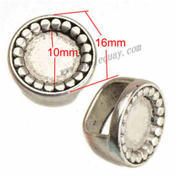 Wholesale Horoscope Watch - Charms Beads For Bracelets Multi Watch Bangles DIY Retro Silver Round Can Set Cameo Cabochon Large Hole Metal Jewelry Findings 16*11mm 50pcs