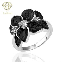 Wholesale Rose Plant Leaves - Black Onyx Flower Rings 2016 New Design 4-Leaves Rose Gold Platinum Plated Inlaid Crystal Rings Jewelry for Women