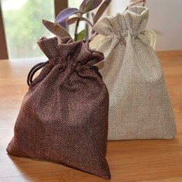 Wholesale Burlap Sacks - Jute Flax Drawstring Bags Beige Coffee 8x10cm 9x12cm 10x15cm 13x17cm Jute Sack Pouches Burlap Wedding Favor holders Fashion Jewelry Pouch