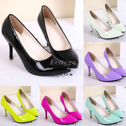 Wholesale Sew Candy - Wholesale-2015 Ladies Women Low Mid High Heels Court Shoes Pointy Toe Stiletto Work Smart Pump Party Candy Color Shoes Free shipping