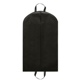 Wholesale Breast Protectors - Wholesale- Black Suit Zip Bag Hanger Storage Home Dress Coat Garment Storage Travel Carrier Bag Cover Hanging Dustproof Protector