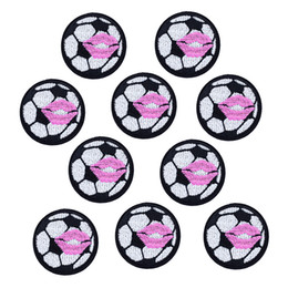 Wholesale Iron Patches Football - 10PCS Lovely football Patches for Clothing Bags Iron on Embroidery Patch for Jeans Dress DIY Fabrics for Patchwork Sew on Badge