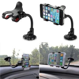 Wholesale Car Windshield Stand Phone - Universal 360 Degree Rotating Long Arm Windshield Mobile Phone Car Mount Bracket Holder Stand For iPhone Cellphone GPS MP4 PDA DHL Freeship