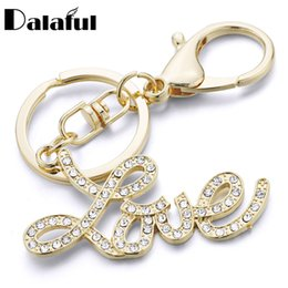 Wholesale Rhinestone Car Letters - beijia Letter Love Keychains Keyrings Purse Bag Pendant Creative Car Key Chain Ring Holder Souvenir Lovers Gift K348