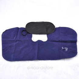 Wholesale Air Dagger - 3 in1 Travel Set Inflatable Neck Air Cushion Pillow + eye mask + 2 Ear Plug Comfortable business trip Free shipping XMHM381