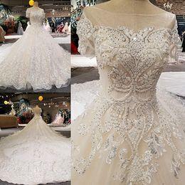 Wholesale Bulk Wedding Dresses - LS00258 V back short sleeves long train bulk lace up wedding dresses arabic style for black women
