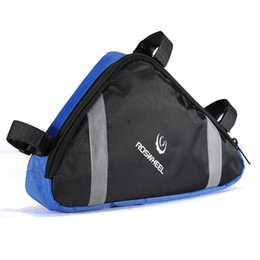 Wholesale Top Tube Cycling Bags - HOT Outdoor Cycling Bike Triangle Case Cover protector Front Saddle Bag Top Tube Frame Pouch Blue Water Resistant Polyester order<$18no trac
