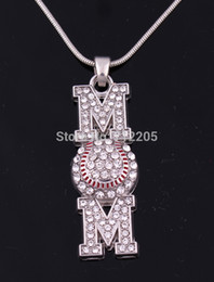Wholesale Baseball Party Plates - New Arrival Free shipping 10pcs a lot zinc Heirloom Finds Baseball Softball Mom Pave Crystal Pendant chain necklace
