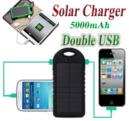 Wholesale Waterproof Battery Solar Powered Led - Solar Battery Charger 5000mAh Waterproof Shockproof Dustproof Solar Power Bank Dual USB with LED Lights for Smart Mobile Phone PAD Tablets