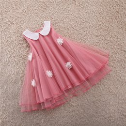 Wholesale Dress Pans - New summer girls dresses floower sleeveless lace dress peter pan collar design red for 2-6T 5 p l