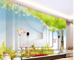 Wholesale cartoon sound effects - Custom photo wallpaper 3D European Cartoon tree retro sofa backdrop 3d wallpaper 3d mural wallpaper 20158604