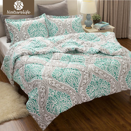 Wholesale Fabric Damask - Wholesale- Naturelife Flower Pattern Comforter Duvet Set 3 pcs Classics Green Damask Design Down Alternative Comforter Edredom Futon