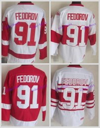 Wholesale price ice - Factory Price Mens Detroit Red Wings Jerseys #91 Sergei Fedorov CCM Vintage Ice Hockey Jersey,100% Embroidery and Sewing Logos