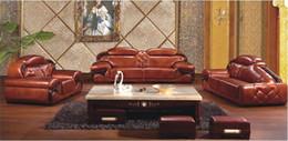 Argentina combinación de sala de estar minimalista con sofás de cuero nuevo clásico chino grueso primera capa de muebles de sala de estar de cuero W70854 Suministro