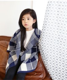 Wholesale Long Coats For Sale - 2015 Hot Sale New Europe Style Children Long Coats Fashion Check Pattern Outwear For Girl Cotton Loose Casual Costume For Kids CR44