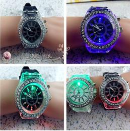 Wholesale Geneva Led Light - 100pcs lot Led Light Geneva Diamond Stone Crystal Watch Unisex Silicone Jelly Candy Fashion Flash Up Backlight Watches