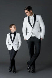 Wholesale Boy White Tuxedo Suit Wedding - 2018 New Arrival Groom Tuxedos Men's Wedding Dress Prom Suits Father and Boy Tuxedos (Jacket+pants+Bow) Custom Made