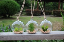 Wholesale Hanging Clear Glass Candle Holder - 3pcs set 80mm hanging glass candle holders,12cm 6 inch air plant orb holders,hanging terrarium pots,garden&home decor,wedding supplies