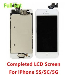 Wholesale Iphone Replacement Set - Tianma LCD Grade Full Set Small Parts Facing Camera + Home Button LCD Screen Digitizer Replacement For iPhone 5S 5C 5G Free shipping