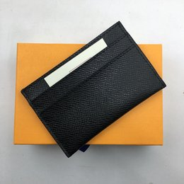 Wholesale Mini Coin Banks - Classic Black Genuine Leather Credit Card Holder Wallet Top Quality Business Men Slim Bank ID Card Case Pocket Bag 2018 New Thin Coin Purses