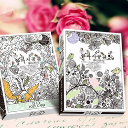 Wholesale Postcard Books - Wholesale-32 Sheets Coloring Postcard Tintage Postcards For Adult DIY Release Stress Painting Drawing Book Secret Garden Colouring Books
