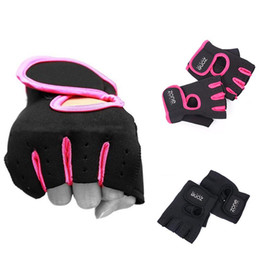 Wholesale fingerless padded gloves - Wholesale-High Quality 1 Pair Weight Lifting Leather Padded Gloves Fitness Training Gym Sports #61168