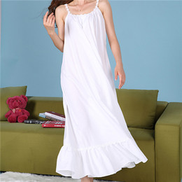 Wholesale Women Cotton Nightdress - Wholesale- 2017 Sleep Lounge Women Sleepwear Cotton Long Nightgowns Sexy Indoor Clothing Maxi Home Dress Chemise Nightdress #P78