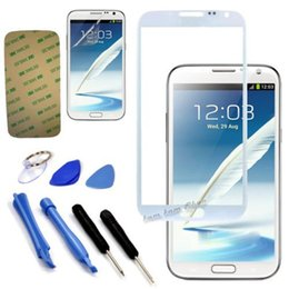 Wholesale Galaxy Note Ii Screen Protector - Wholesale-White Front Digitizer Touch Screen Glass Lens For Samsung Galaxy Note 2 II N7100 + Sticker + Repair Tools + Screen Protector