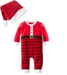 Wholesale Stocking Hats For Babies - 60pcs lot SamgamiBaby Lovely Cotton long sleeve Christmas striped rompers + hats suits in stock for Baby boys girls Hot sale
