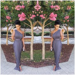 Wholesale Grey Modest Dress - Modest 2017 One Shoulder Maid Of Honor Dresses Floor Length Long Sheath Ruched Grey Bridesmaid Dresses UM5937