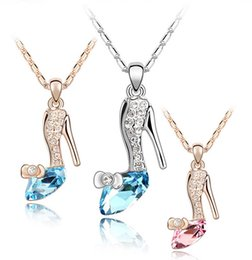 Wholesale Wholesale Shoes Pendant - Girl Noble 18K Gold Plated Jewelry Cinderella Crystal shoes Pendant Austria Crystal Necklace B001
