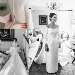Hochzeitskleid einfache spalte online-Bateau Long Sleeves Satin Spalte Sweep Zug Elegant Sexy Einfache Rüsche Button Hochzeit KLEID Brautkleid